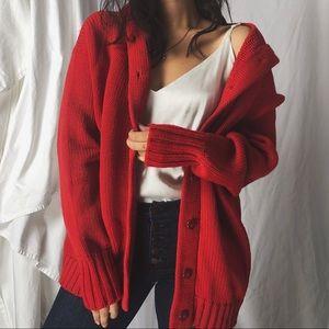 VINTAGE/ hooded wool cardigan